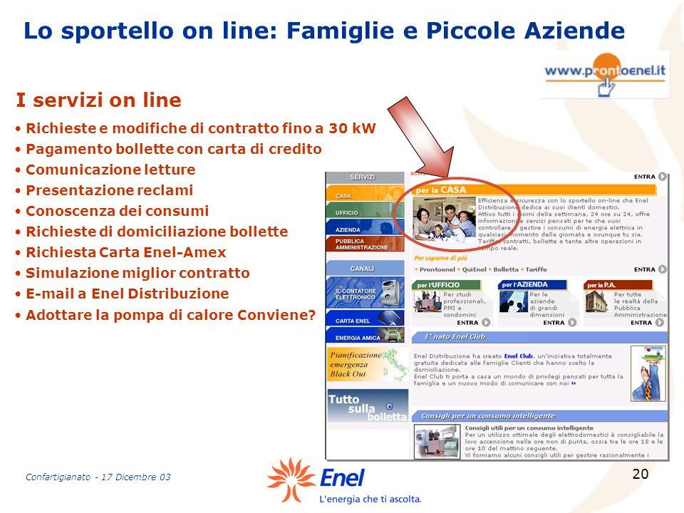 Lo sportello on line: Famiglie e Piccole Aziende