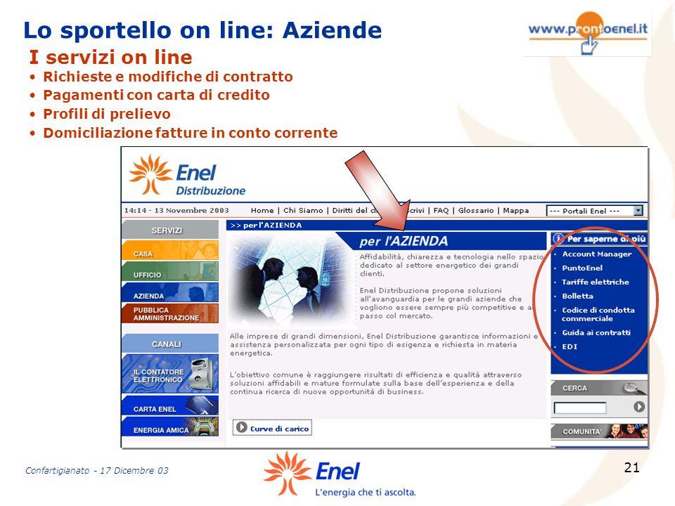 Lo sportello on line: Aziende