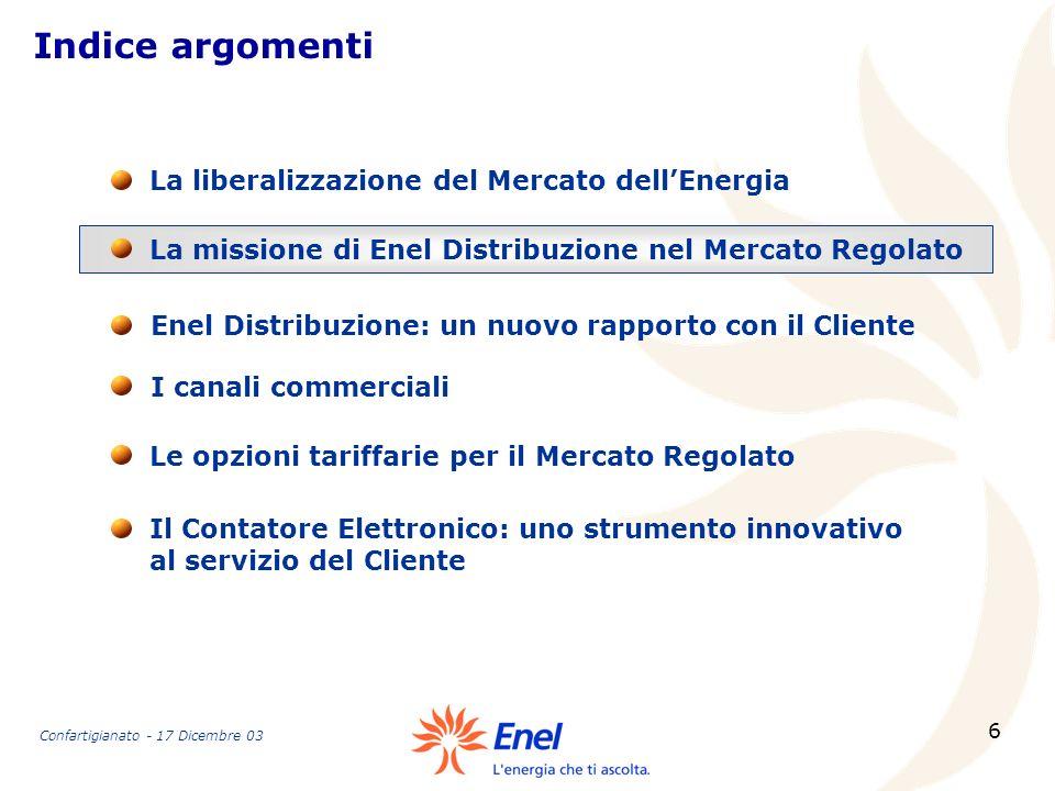 Indice argomenti La liberalizzazione del Mercato dell'Energia