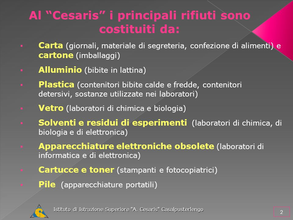 Al Cesaris i principali rifiuti sono costituiti da: