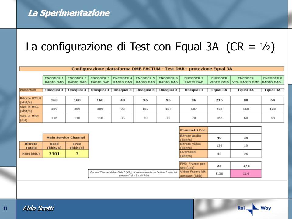 La configurazione di Test con Equal 3A (CR = ½)