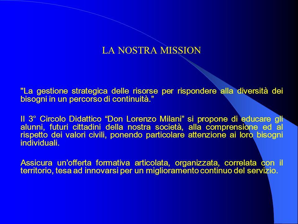 LA NOSTRA MISSION La gestione strategica delle risorse per rispondere alla diversità dei bisogni in un percorso di continuità.