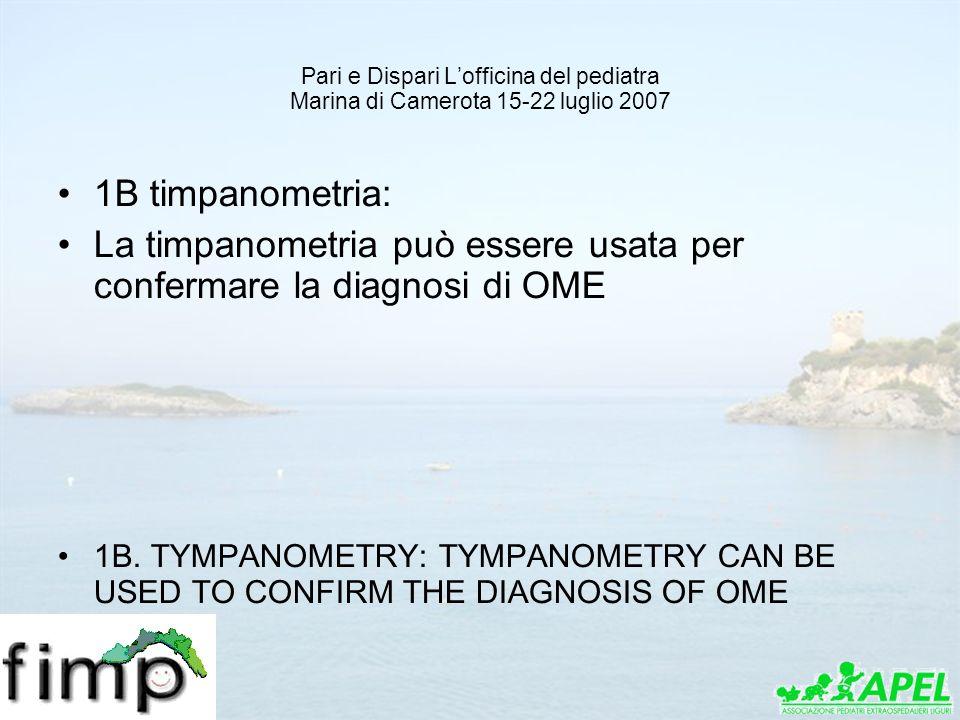 La timpanometria può essere usata per confermare la diagnosi di OME