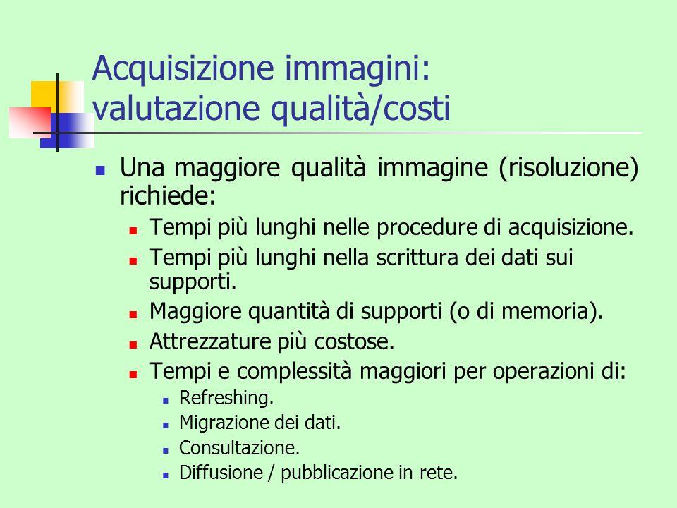 Acquisizione immagini: valutazione qualità/costi