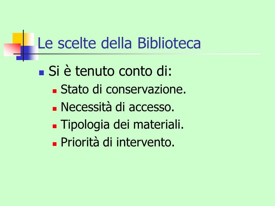 Le scelte della Biblioteca
