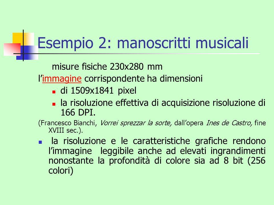 Esempio 2: manoscritti musicali