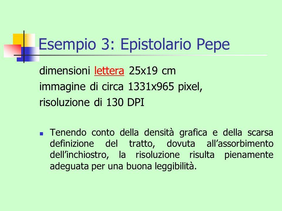 Esempio 3: Epistolario Pepe