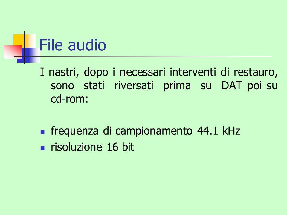 File audio I nastri, dopo i necessari interventi di restauro, sono stati riversati prima su DAT poi su cd-rom: