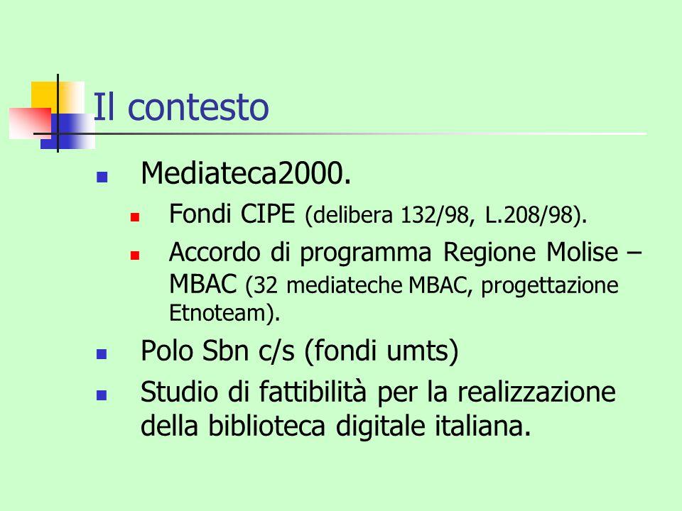Il contesto Mediateca2000. Polo Sbn c/s (fondi umts)
