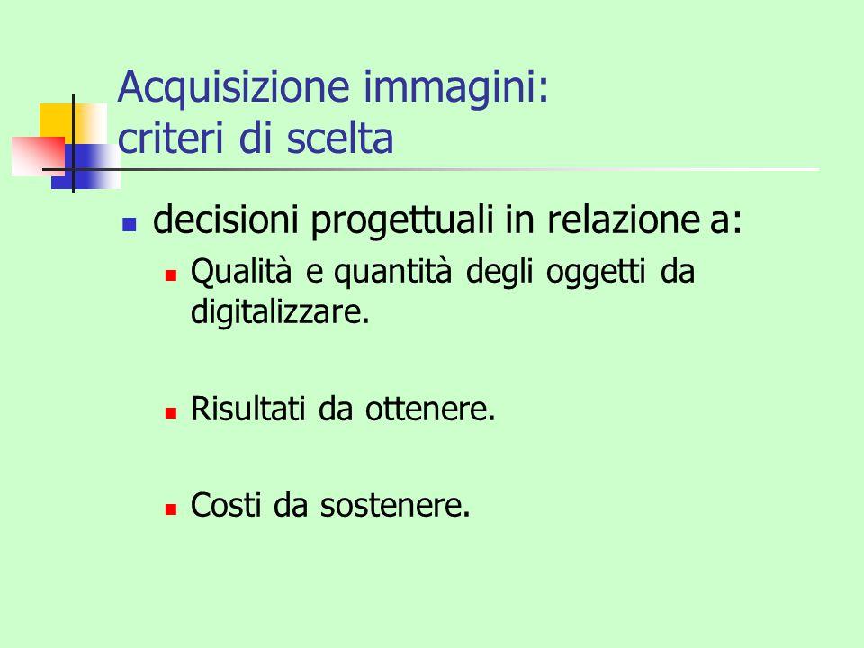 Acquisizione immagini: criteri di scelta