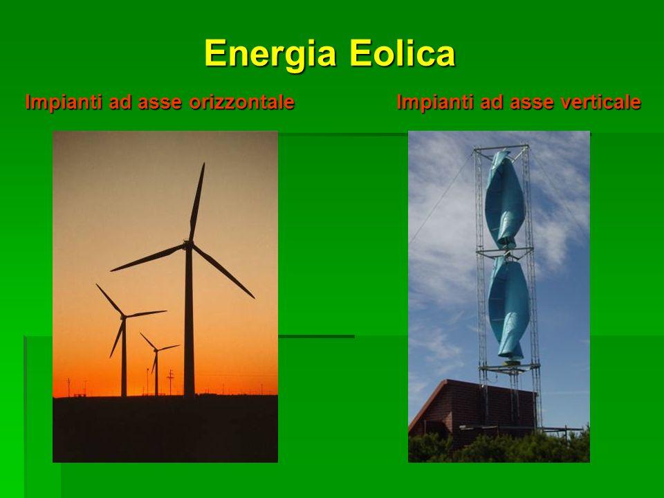Energia Eolica Impianti ad asse orizzontale Impianti ad asse verticale