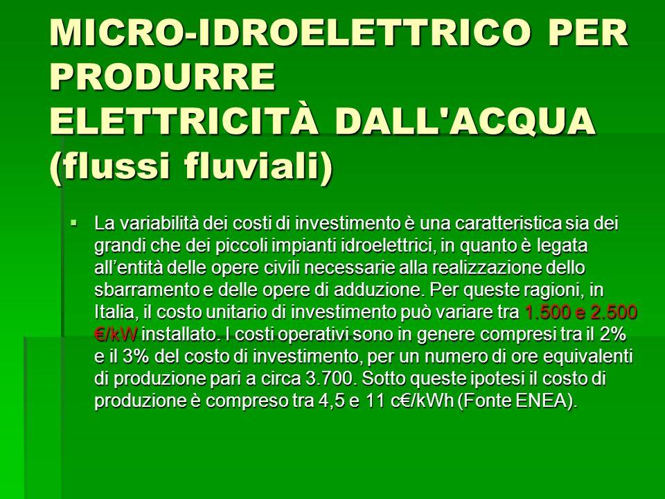 SEA Progetti S.r.l. MICRO-IDROELETTRICO PER PRODURRE ELETTRICITÀ DALL ACQUA (flussi fluviali)