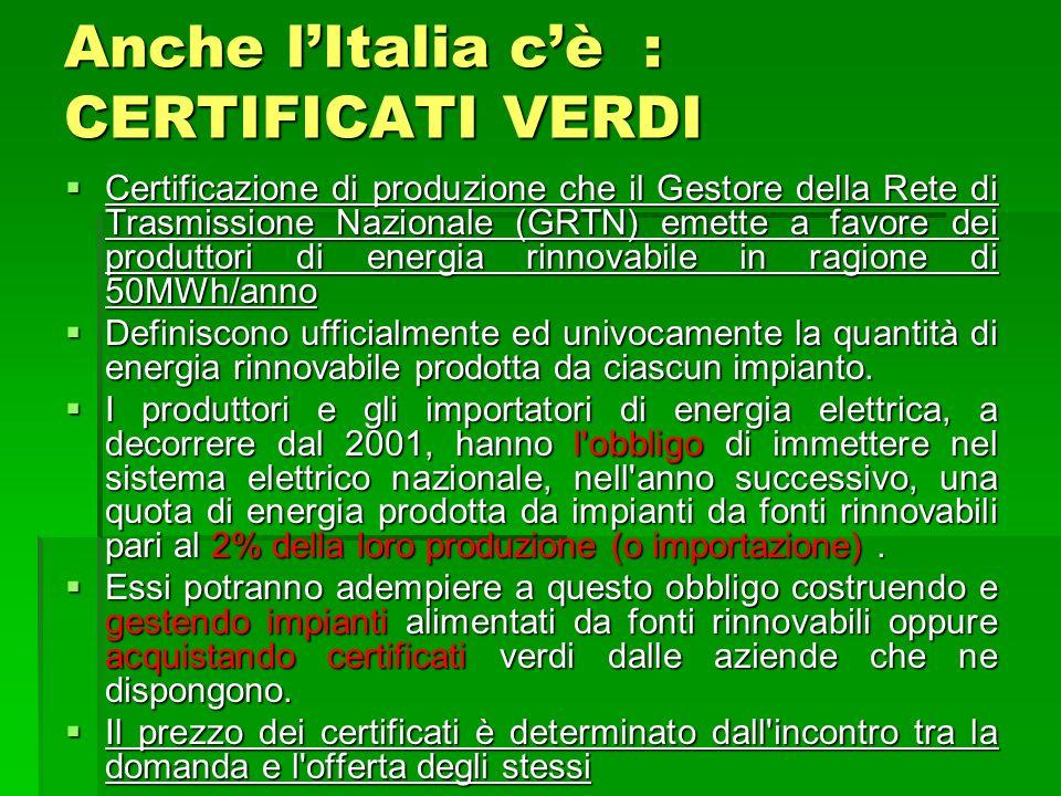 Anche l'Italia c'è : CERTIFICATI VERDI