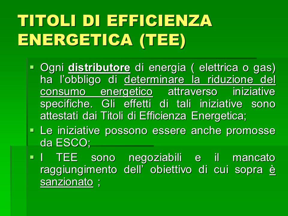 TITOLI DI EFFICIENZA ENERGETICA (TEE)