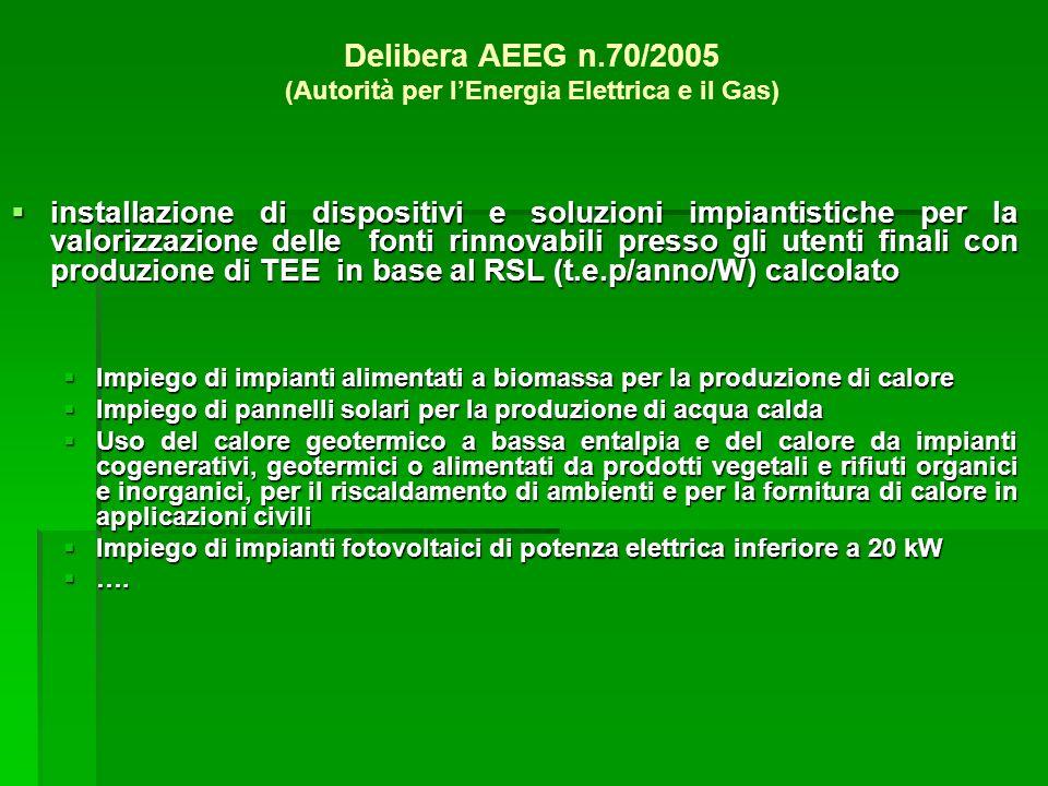 Delibera AEEG n.70/2005 (Autorità per l'Energia Elettrica e il Gas)