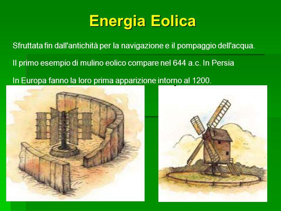 SEA Progetti S.r.l. Energia Eolica. Sfruttata fin dall antichità per la navigazione e il pompaggio dell acqua.