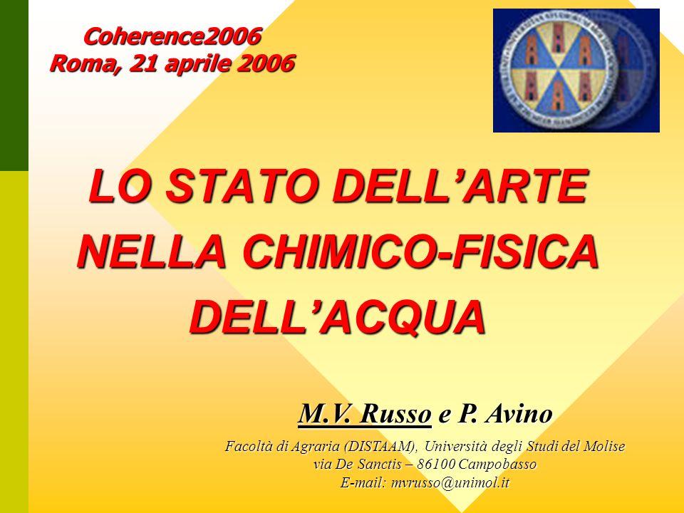 LO STATO DELL'ARTE NELLA CHIMICO-FISICA DELL'ACQUA