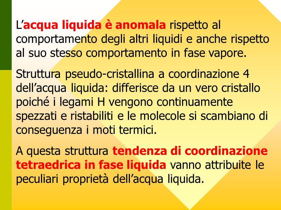 L'acqua liquida è anomala rispetto al comportamento degli altri liquidi e anche rispetto al suo stesso comportamento in fase vapore.