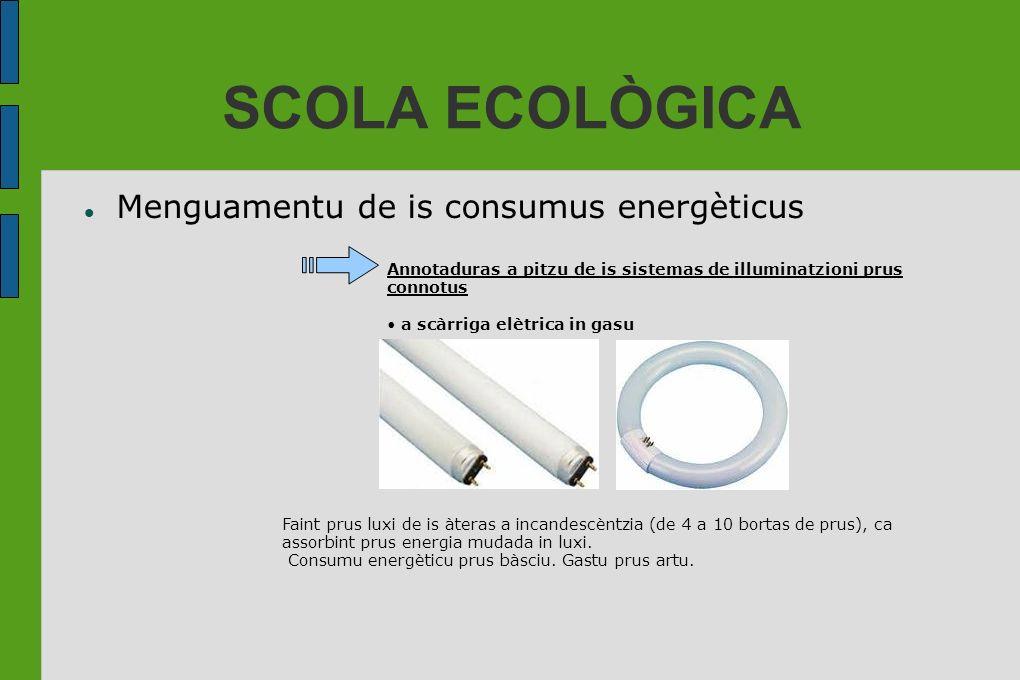 SCOLA ECOLÒGICA Menguamentu de is consumus energèticus