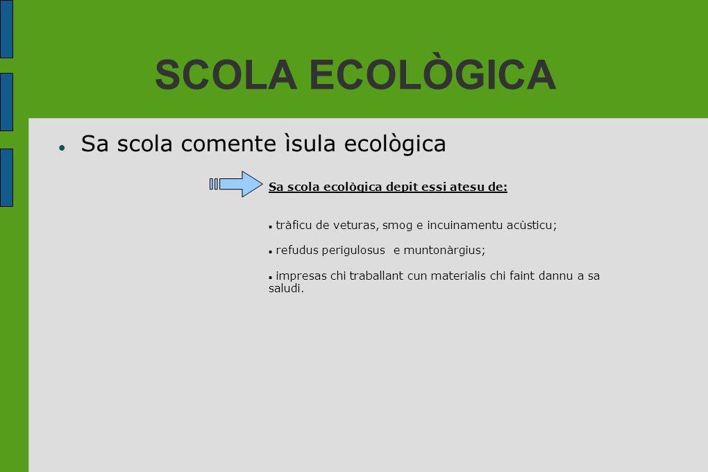 SCOLA ECOLÒGICA Sa scola comente ìsula ecològica