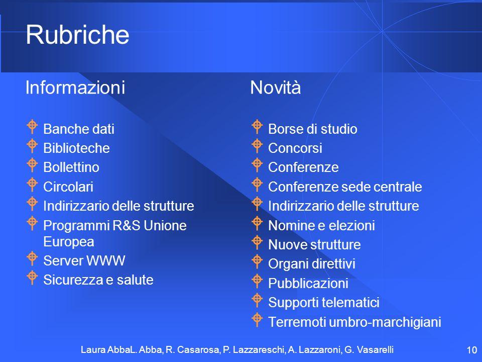 Rubriche Informazioni Novità Banche dati Biblioteche Bollettino