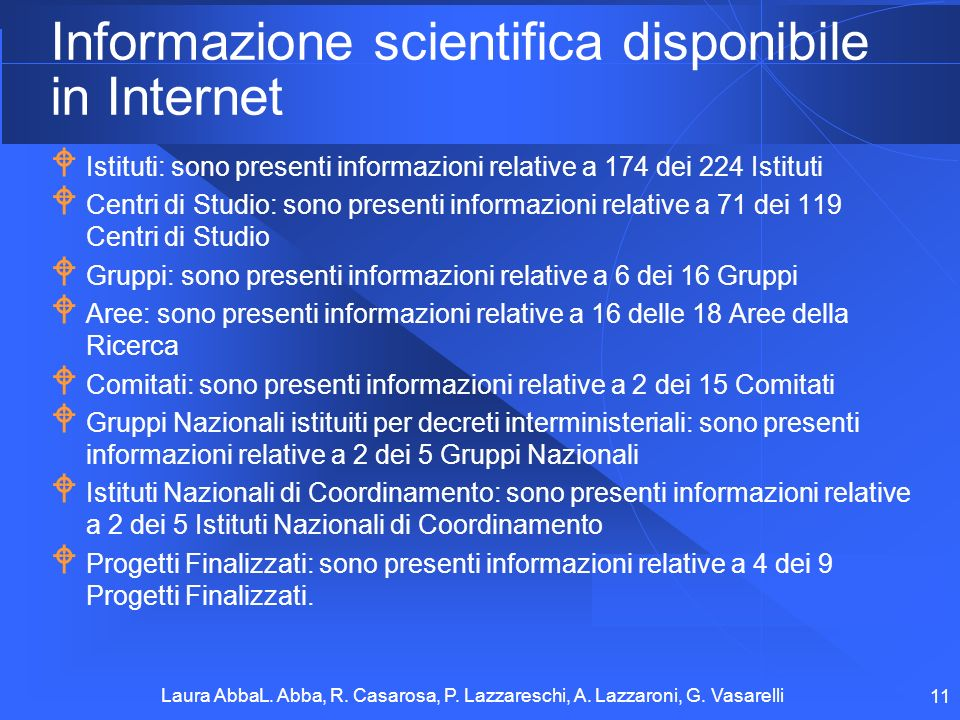 Informazione scientifica disponibile in Internet