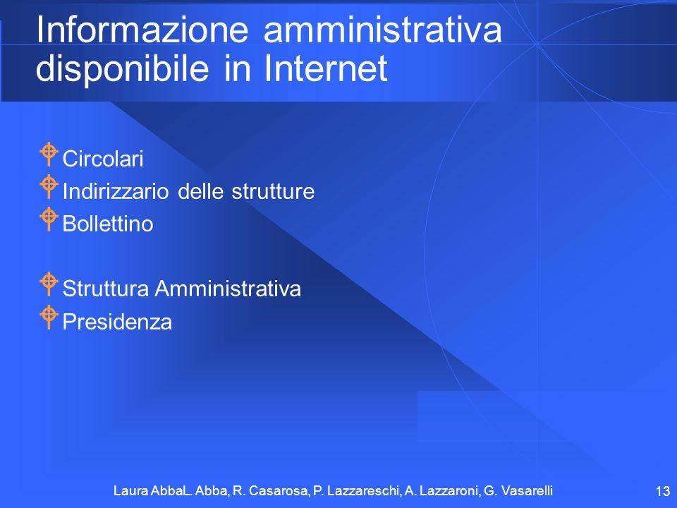 Informazione amministrativa disponibile in Internet