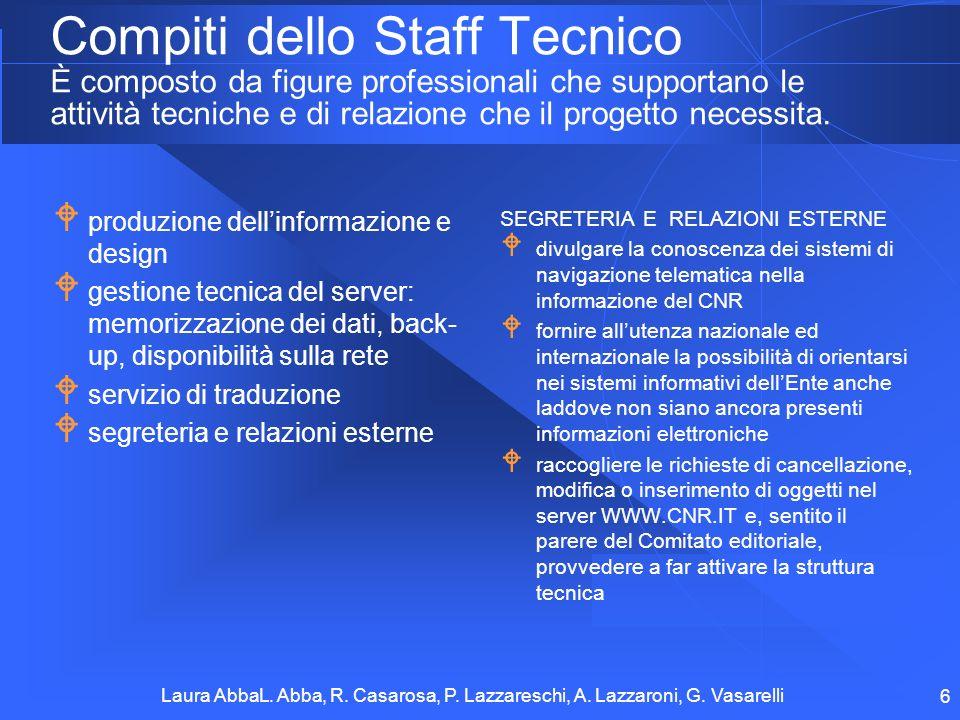 Compiti dello Staff Tecnico È composto da figure professionali che supportano le attività tecniche e di relazione che il progetto necessita.