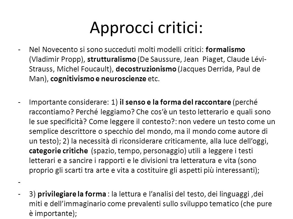 Approcci critici: