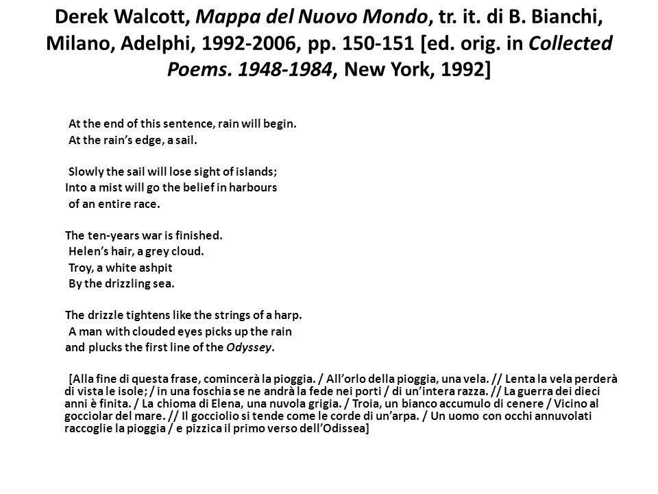 Derek Walcott, Mappa del Nuovo Mondo, tr. it. di B