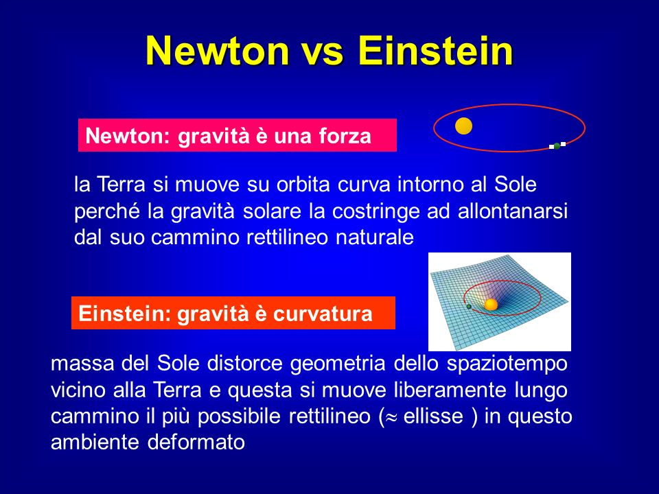 Newton vs Einstein Newton: gravità è una forza