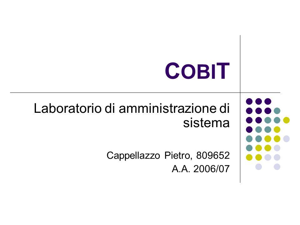 COBIT Laboratorio di amministrazione di sistema