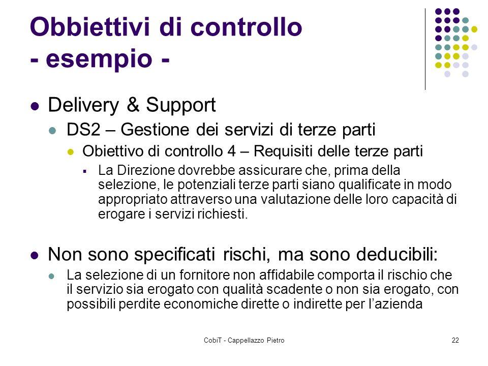 Obbiettivi di controllo - esempio -