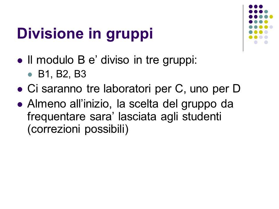 Divisione in gruppi Il modulo B e' diviso in tre gruppi: