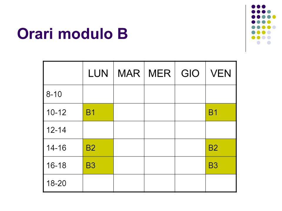 Orari modulo B LUN MAR MER GIO VEN 8-10 10-12 B1 12-14 14-16 B2 16-18