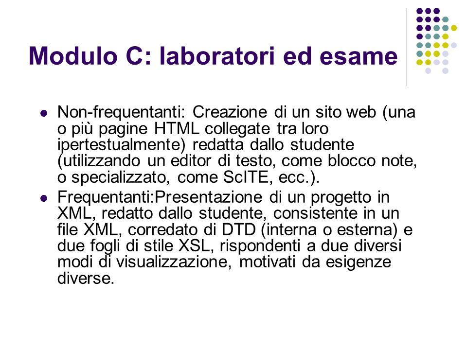 Modulo C: laboratori ed esame