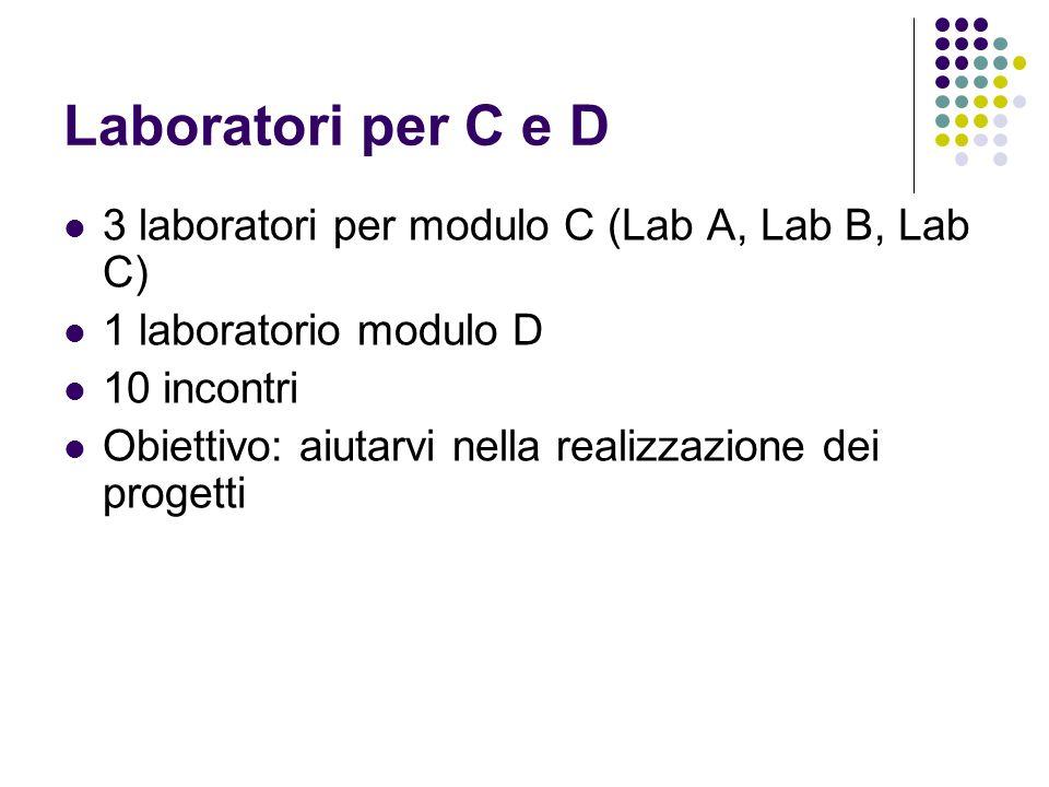Laboratori per C e D 3 laboratori per modulo C (Lab A, Lab B, Lab C)