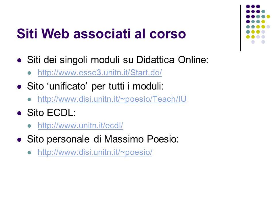 Siti Web associati al corso