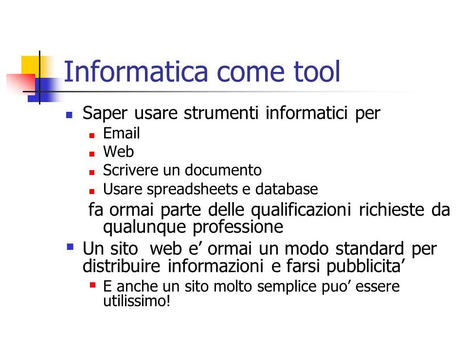Informatica come tool Saper usare strumenti informatici per