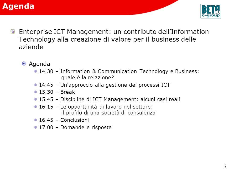 Agenda Enterprise ICT Management: un contributo dell'Information Technology alla creazione di valore per il business delle aziende.