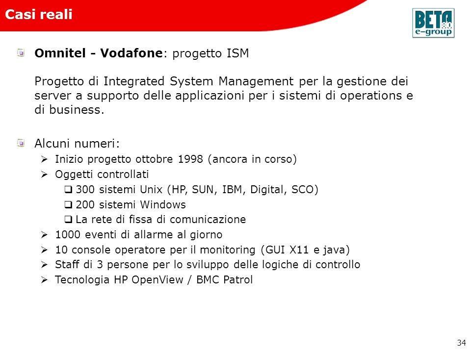 Beta80 e-group Casi reali.