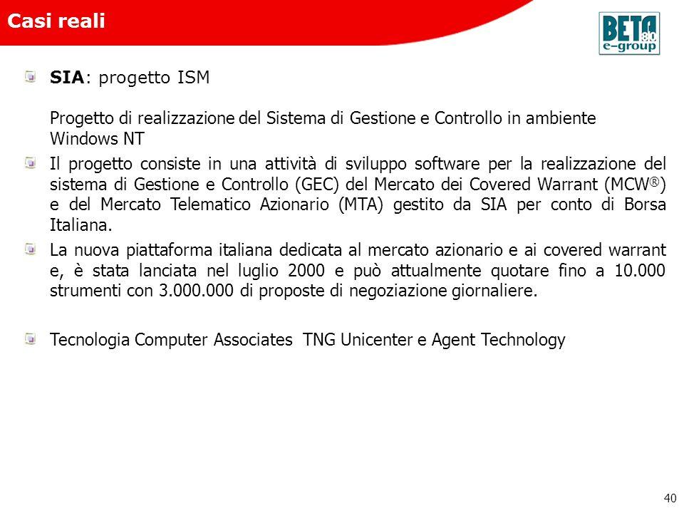 Beta80 e-group Casi reali. SIA: progetto ISM Progetto di realizzazione del Sistema di Gestione e Controllo in ambiente Windows NT
