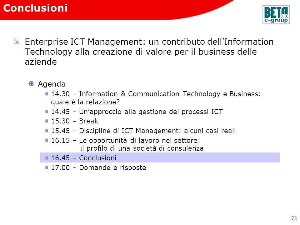 Conclusioni Enterprise ICT Management: un contributo dell'Information Technology alla creazione di valore per il business delle aziende.