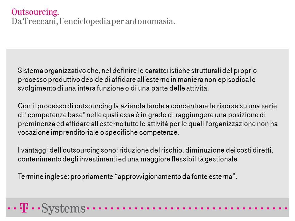 Outsourcing. Da Treccani, l enciclopedia per antonomasia.