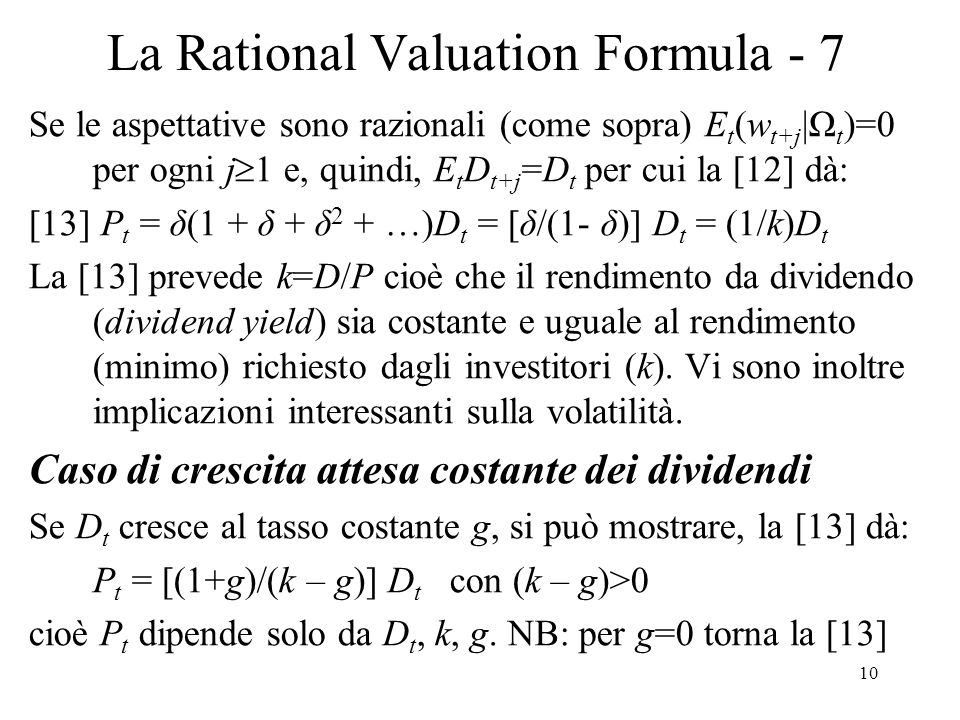 La Rational Valuation Formula - 7