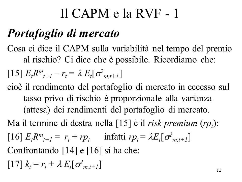 Il CAPM e la RVF - 1 Portafoglio di mercato
