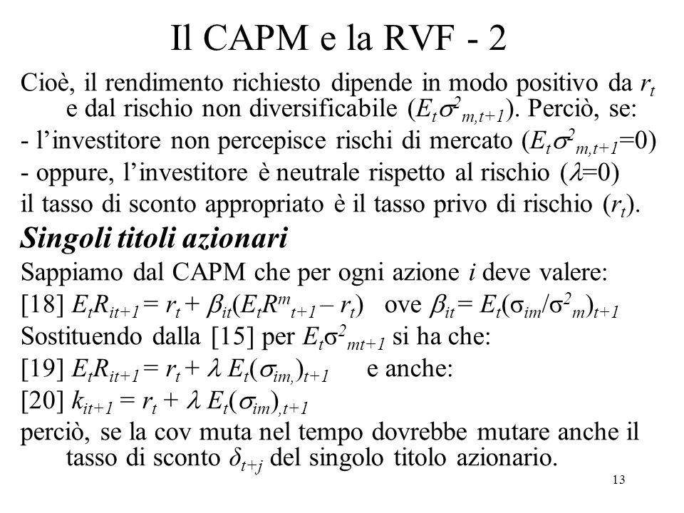 Il CAPM e la RVF - 2 Singoli titoli azionari