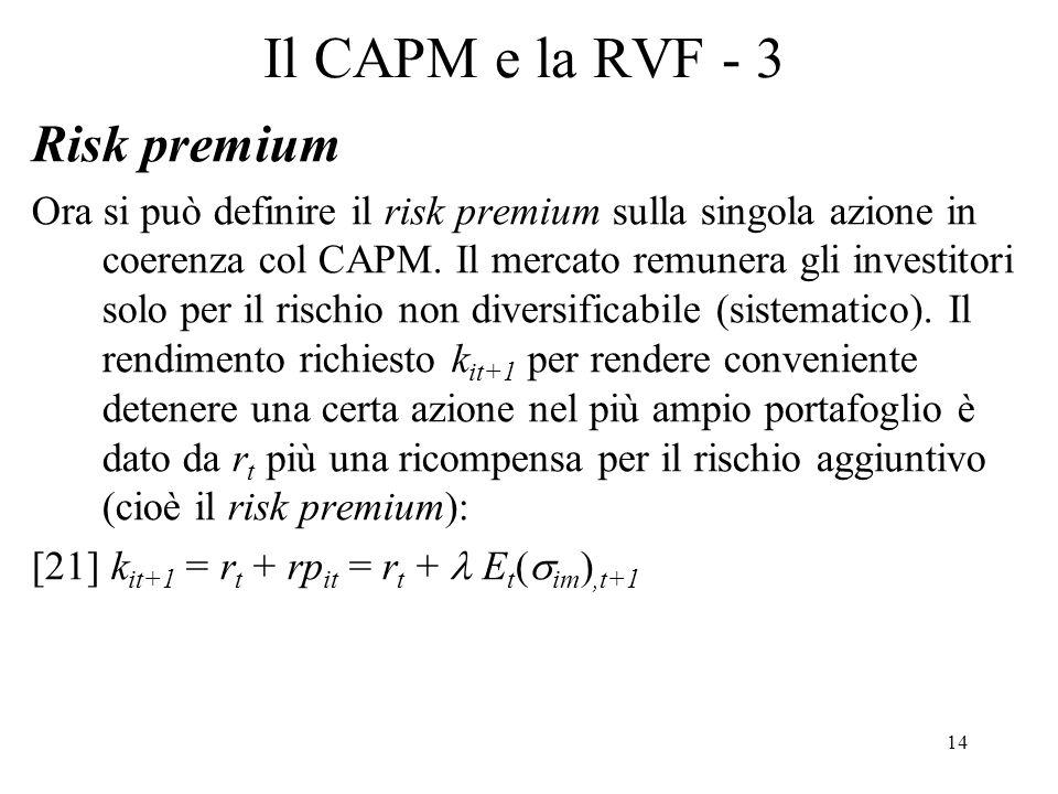 Il CAPM e la RVF - 3 Risk premium