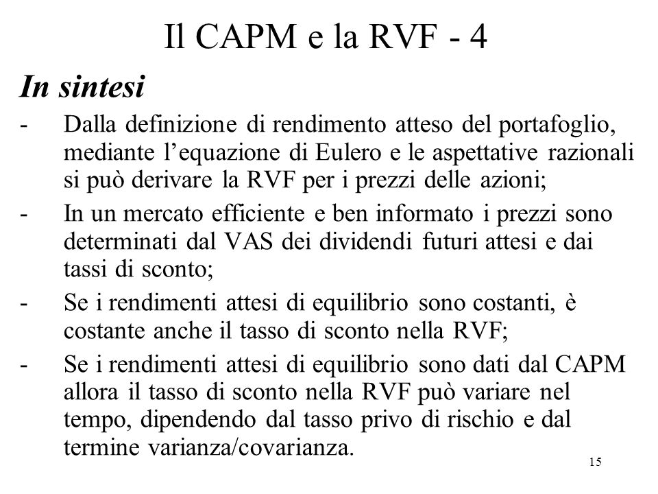 Il CAPM e la RVF - 4 In sintesi