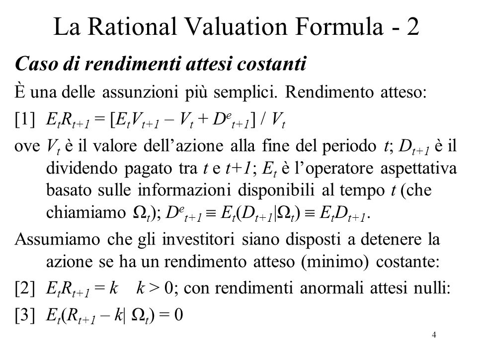 La Rational Valuation Formula - 2